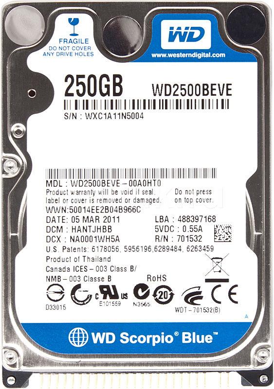 Жесткий диск WD Scorpio Blue WD2500BEVE,  250Гб,  HDD,  IDE,  2.5