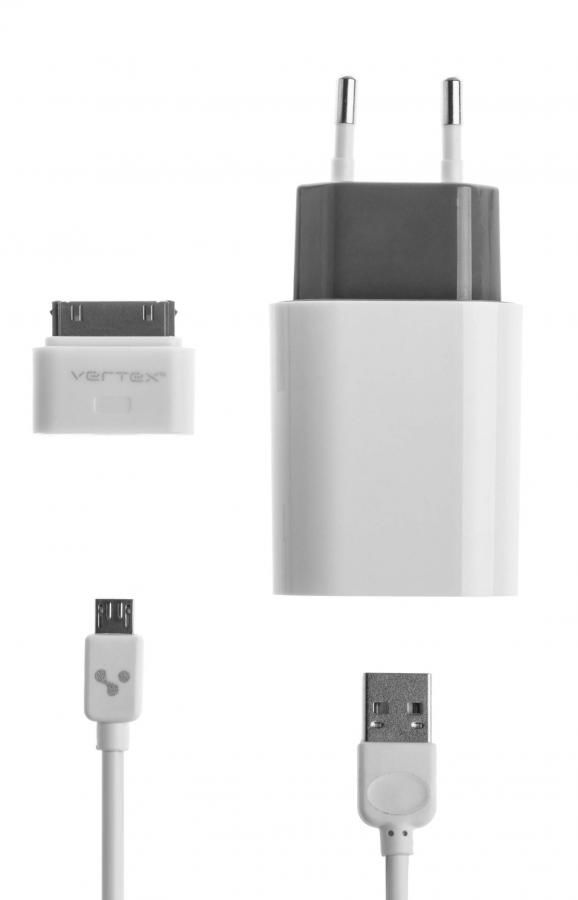 Сетевое зарядное устройство VERTEX TabLife (P05S01EUWT-GR/IPD10WT/CAE),  USB,  30-pin (Apple)/microUSB,  2.1A,  белый
