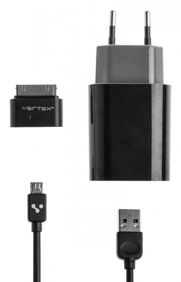 Комплект зарядного устройства VERTEX TabLife P051S0EUBK-GR/IPD10BK/CAE,  USB,  30-pin (Apple)/microUSB/miniUSB,  2.1A,  черный