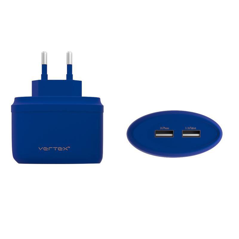 Сетевое зарядное устройство VERTEX Fancy (TC2USBMICUSBBL),  2xUSB,  microUSB,  4.1A,  синий