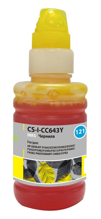 Чернила CACTUS CS-I-CC643Y, для HP, 100мл, желтый