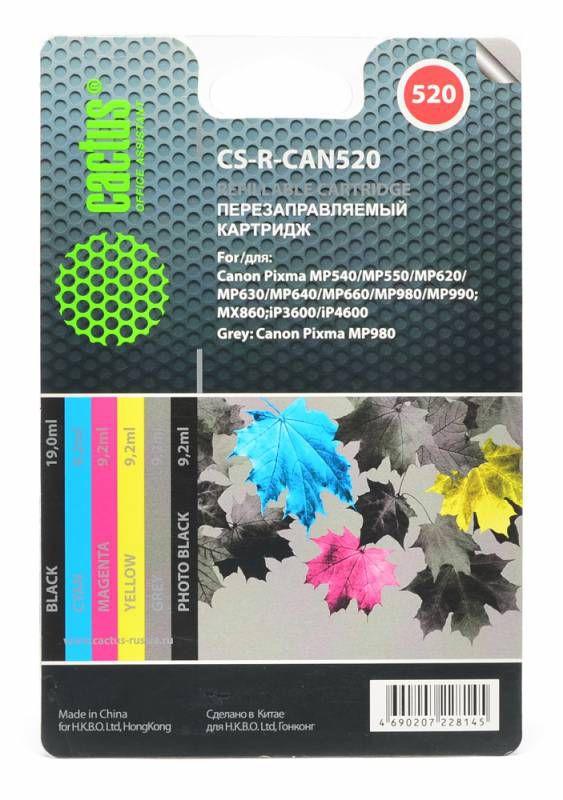 Заправочный комплект CACTUS CS-R-CAN520, для Canon, многоцветный