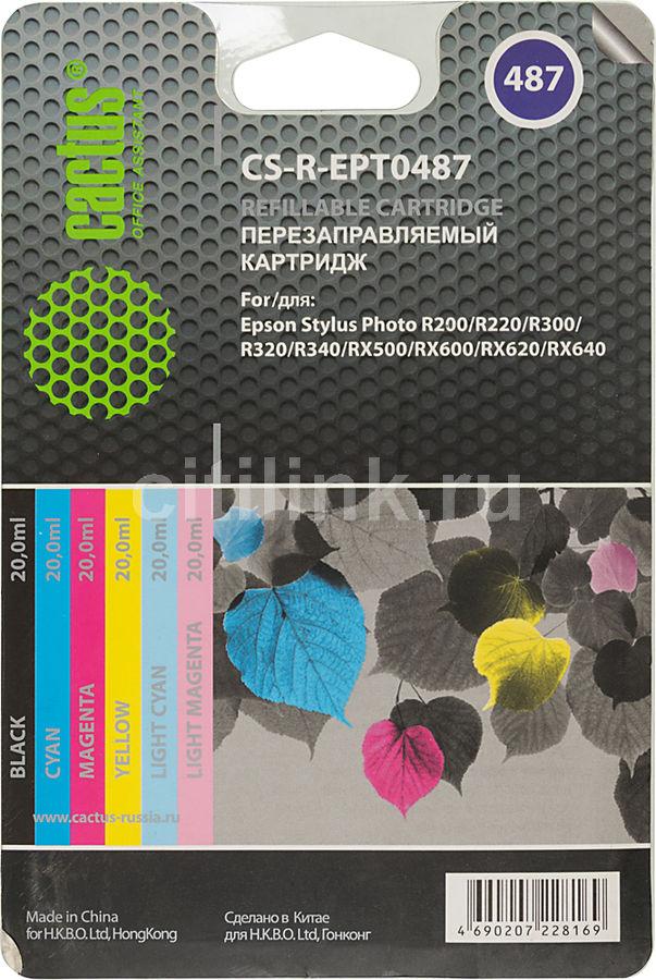 Набор картриджей CACTUS CS-R-EPT0487 черный / голубой / пурпурный / желтый / светло-голубой / светло-пурпурный