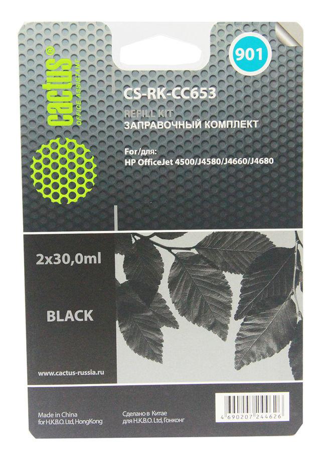Заправочный комплект CACTUS CS-RK-CC653, для HP, 30мл, черный