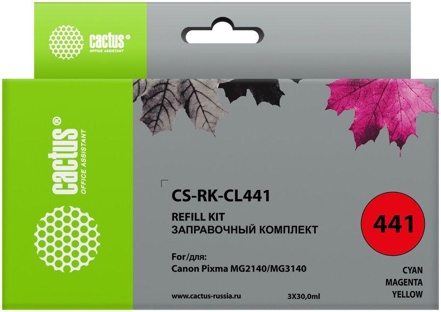 Заправочный комплект CACTUS CS-RK-CL441, для Canon, 90мл, многоцветный