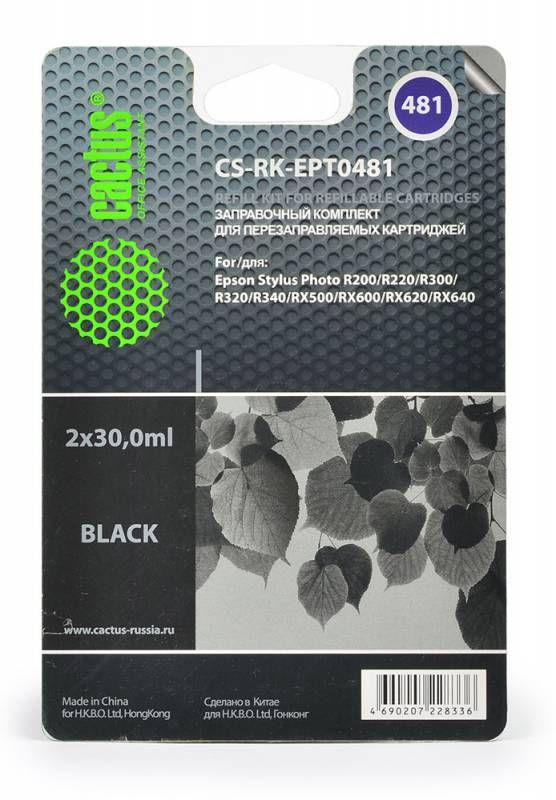 Заправочный комплект CACTUS CS-RK-EPT0481, для Epson, 30мл, черный