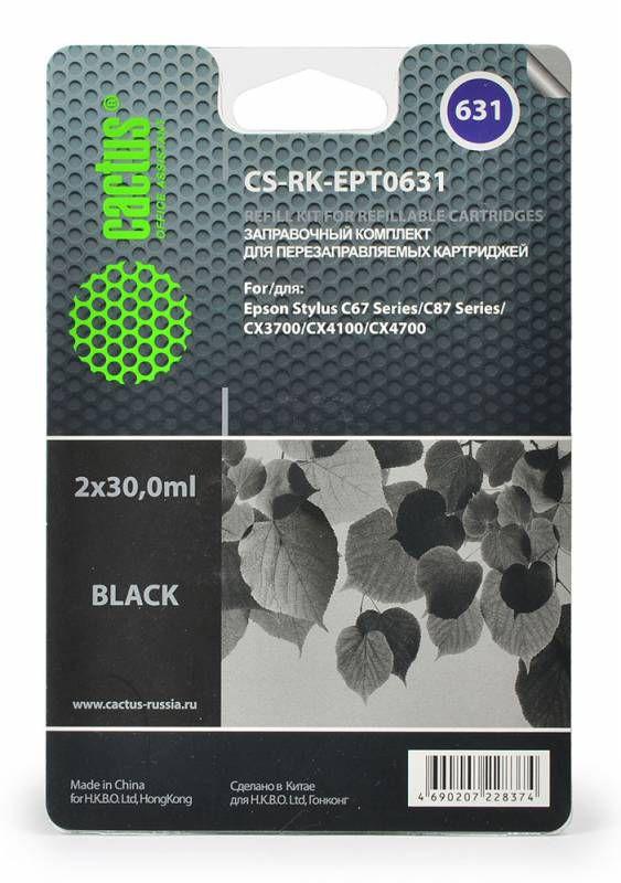 Заправочный комплект CACTUS CS-RK-EPT0631, для Epson, 30мл, черный
