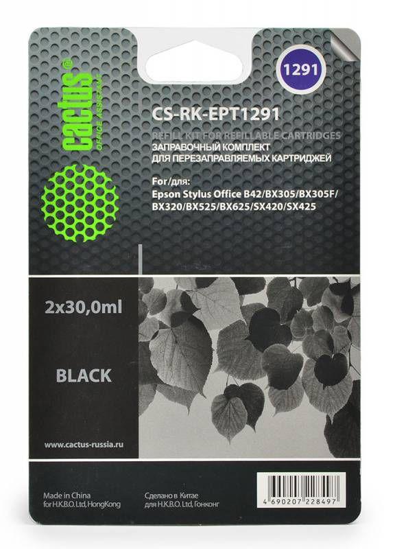 Заправочный комплект CACTUS CS-RK-EPT1291, для Epson, 30мл, черный