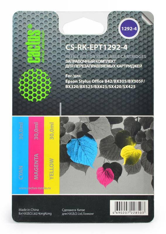Заправочный комплект CACTUS CS-RK-EPT1292-4, для Epson, 30мл, многоцветный