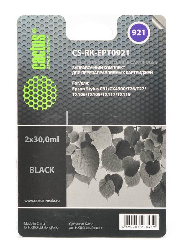 Заправочный комплект CACTUS CS-RK-EPT0921, для Epson, 30мл, черный