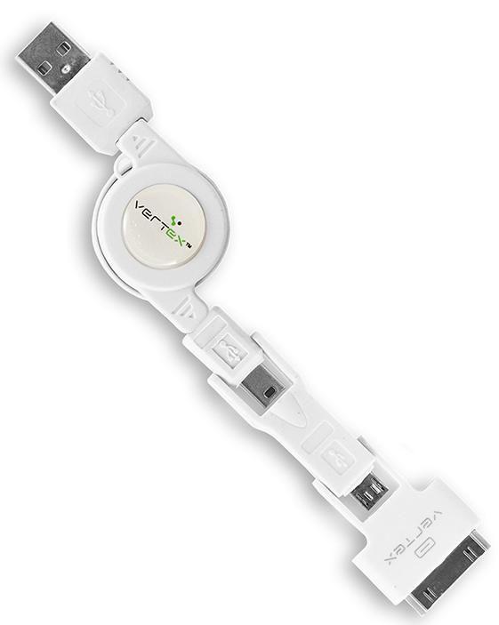Кабель VERTEX 28507,  Apple iPhone 3G/3GS/4/4S Apple iPad 1/2/3 Apple iPod touch (1-4), nano (1-6), classic (1-7) 0.8м, белый,  USB -  microUSB/miniUSB/30-pin(Apple)