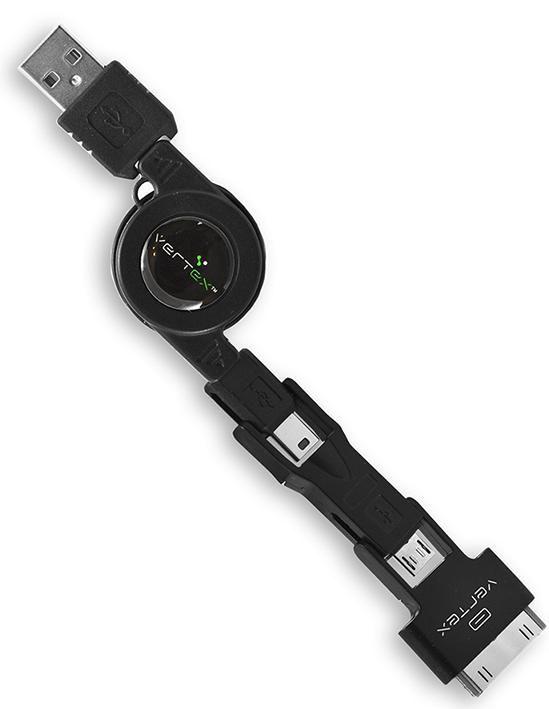 Кабель VERTEX 28508,  USB -  microUSB/miniUSB/30-pin(Apple),  0.8м,  черный