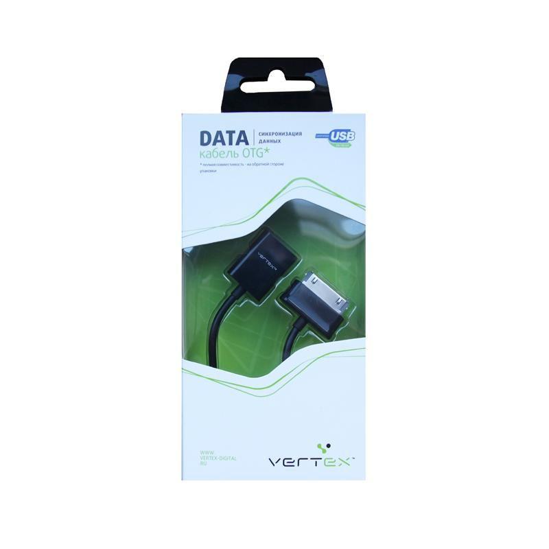Кабель OTG VERTEX DCOTGS30SAM,  Samsung Galaxy Tab P6800/6210/7300/7310/7500/7510, Tab 2 P5100 0.15м, черный,  30-pin (Samsung) -  USB