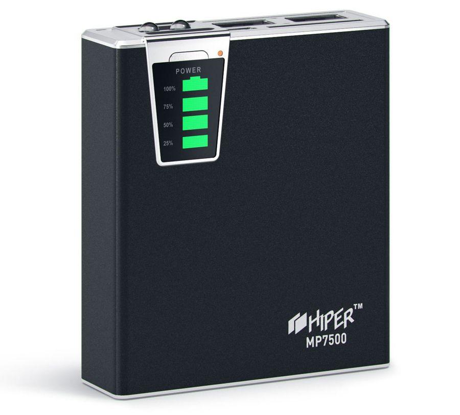 Внешний аккумулятор HIPER MP7500,  7500мAч,  черный [mp7500 black]