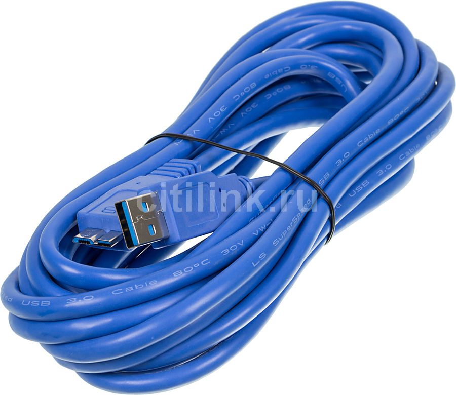 Кабель USB3.0 NINGBO USB A (m) (прямой) -  micro USB B (m) (прямой),  5м,  блистер,  синий