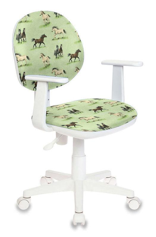 Кресло детское БЮРОКРАТ CH-W356AXSN/HORSE-GN, на колесиках, ткань, лошади на зеленом фоне