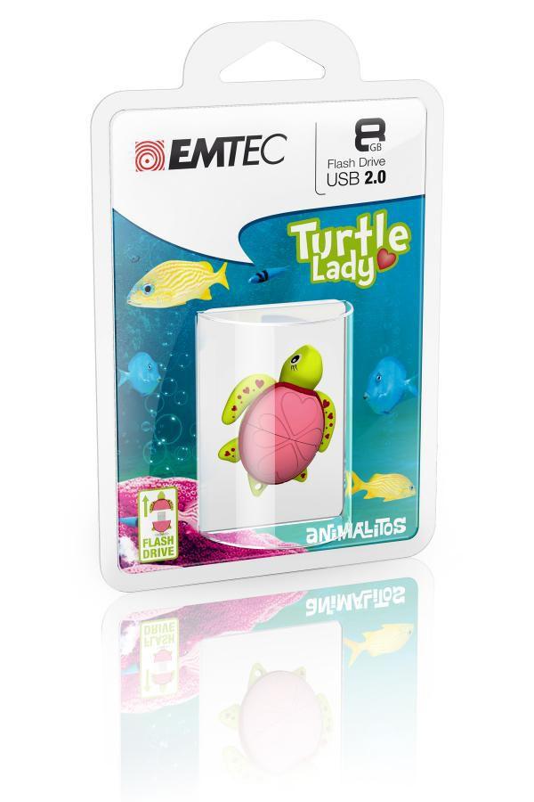 Флешка USB EMTEC M335 Lady Turtle 8Гб, USB2.0, зеленый [ecmmd8gm335]