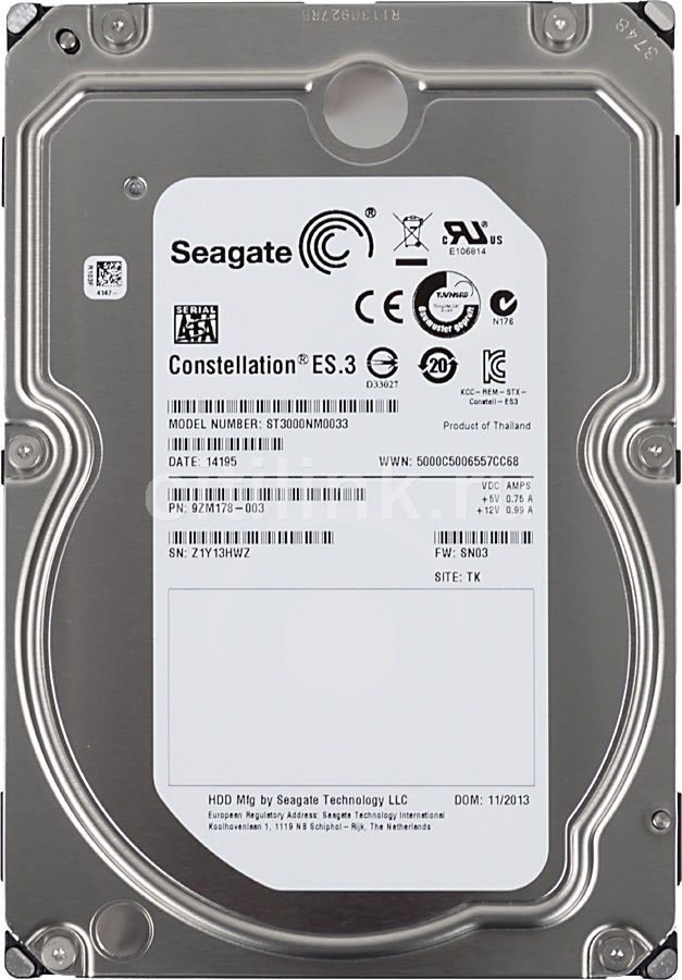 Жесткий диск SEAGATE Constellation ES.3 ST3000NM0033,  3Тб,  HDD,  SATA III,  3.5""