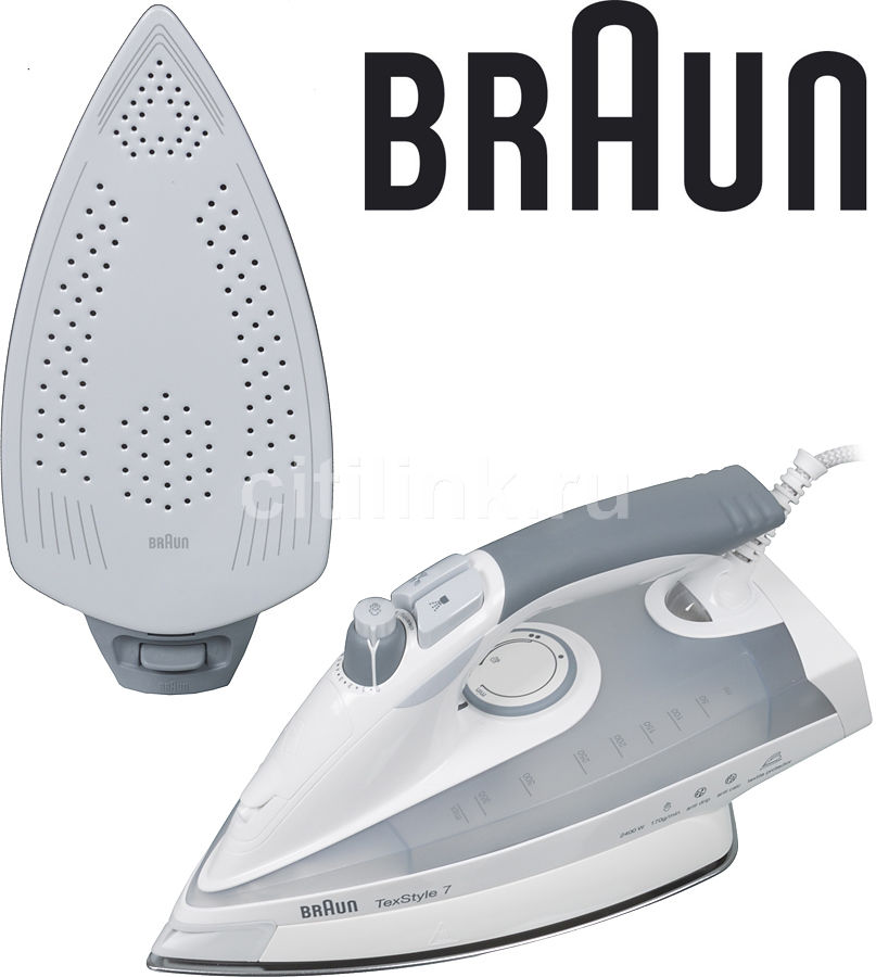 Утюг BRAUN TS775TP, 2400Вт, серый/ белый [0x12711025] парогенератор braun is 5022wh 2400вт алюм автооткл