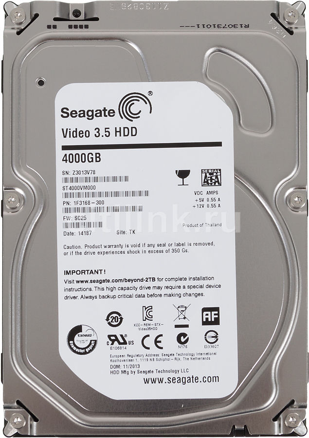 Жесткий диск SEAGATE Video ST4000VM000, 4Тб, HDD, SATA III, 3.5 muya сандалии