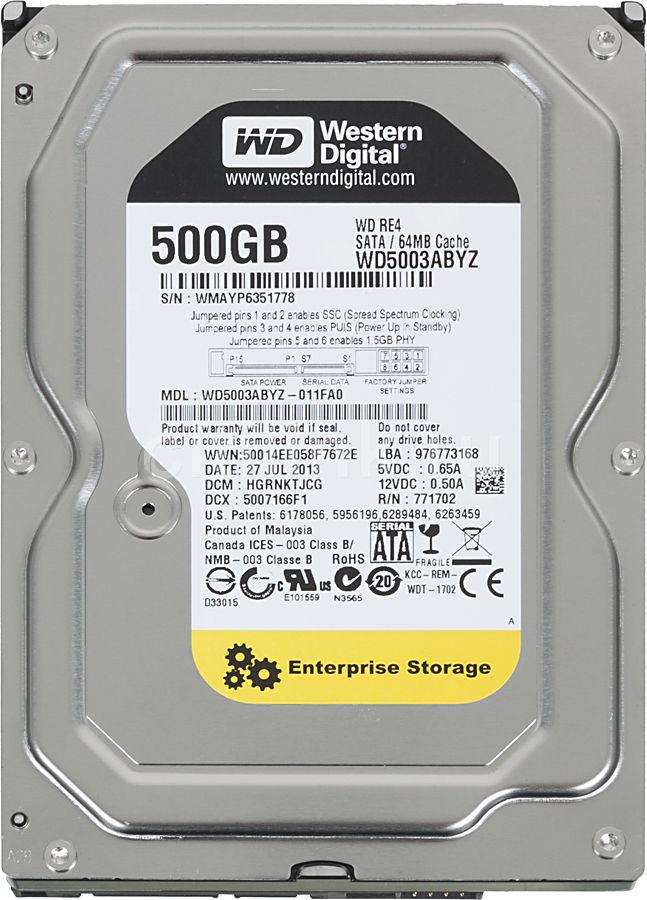 Жесткий диск WD RE WD5003ABYZ,  500Гб,  HDD,  SATA III,  3.5