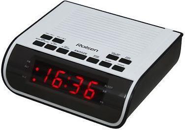 Радиобудильник ROLSEN CR-100W, красная подсветка,  белый