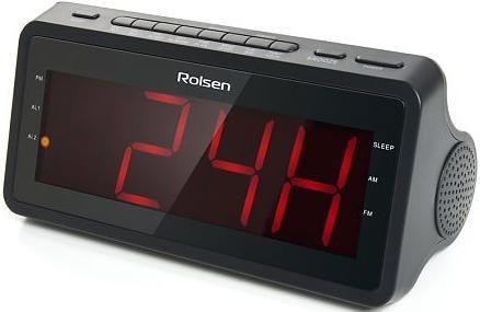 Радиобудильник ROLSEN CR-140, красная подсветка,  черный