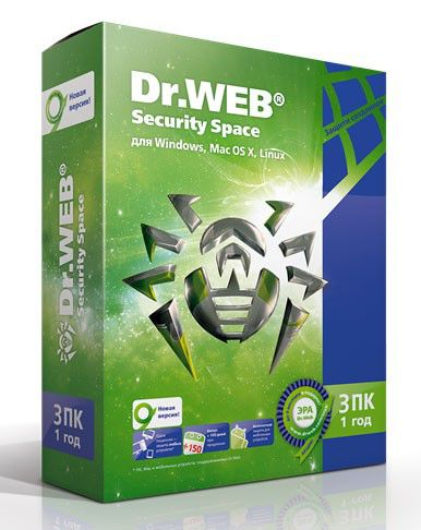 ПО DR.Web Security Space Pro 3 ПК 1 год Base Box (AHW-B-12M-3-A2)Антивирусы<br><br>