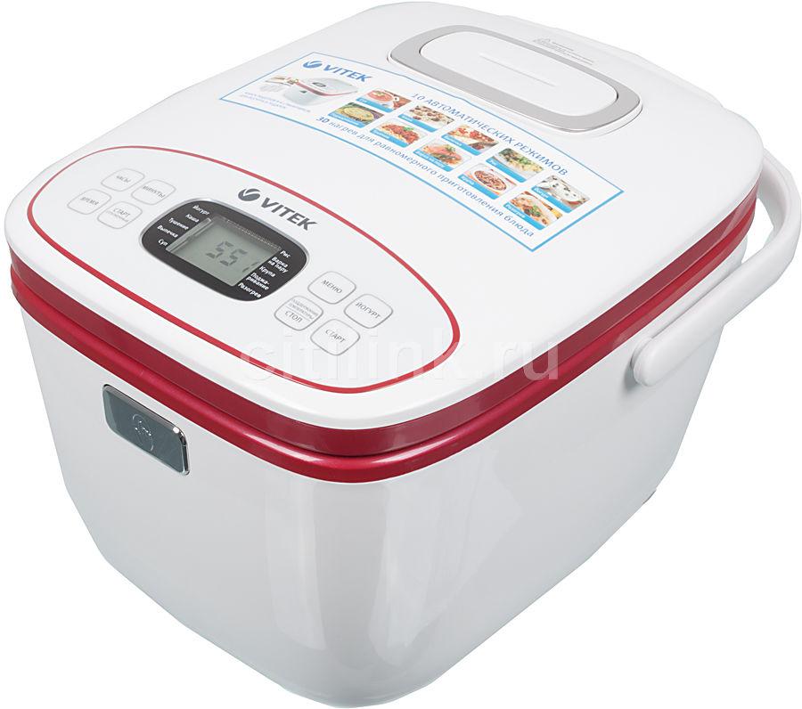 Мультиварка VITEK VT-4207,  800Вт,   красный/белый [4207-vt-01]