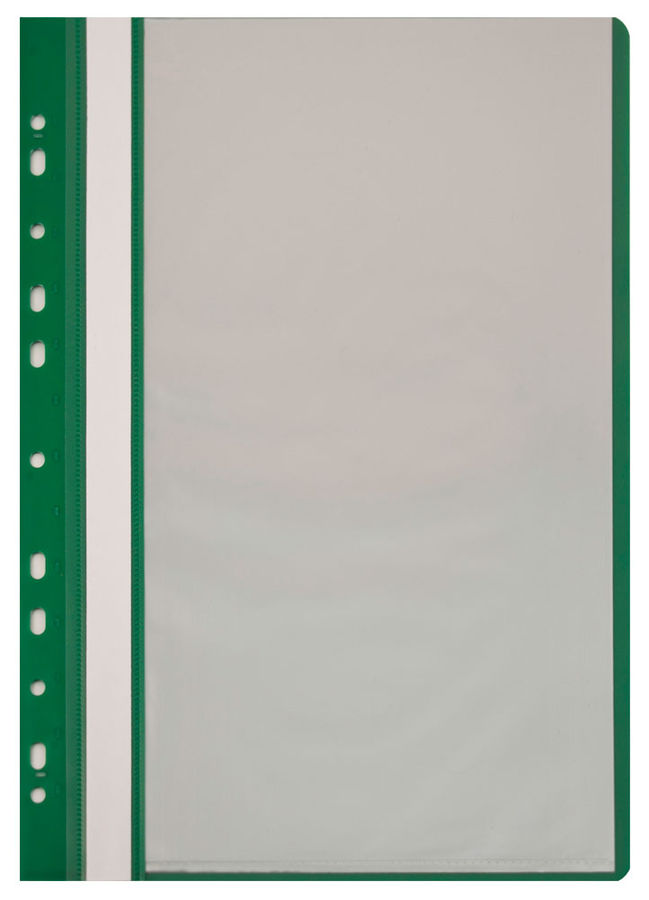 Папка-скоросшиватель Бюрократ -PS10GRN A4 10 вкладышей боков.перф. пластик зеленый 0.12/0.16
