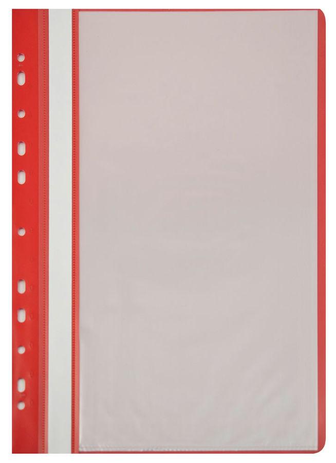 Папка-скоросшиватель Бюрократ -PS10RED A4 10 вкладышей боков.перф. пластик красный