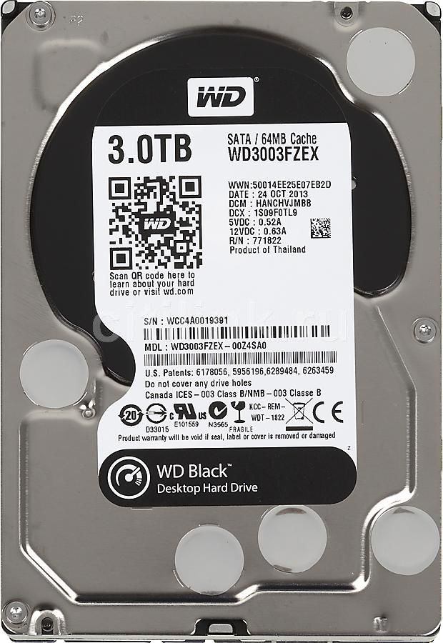 Жесткий диск WD Black WD3003FZEX,  3Тб,  HDD,  SATA III,  3.5