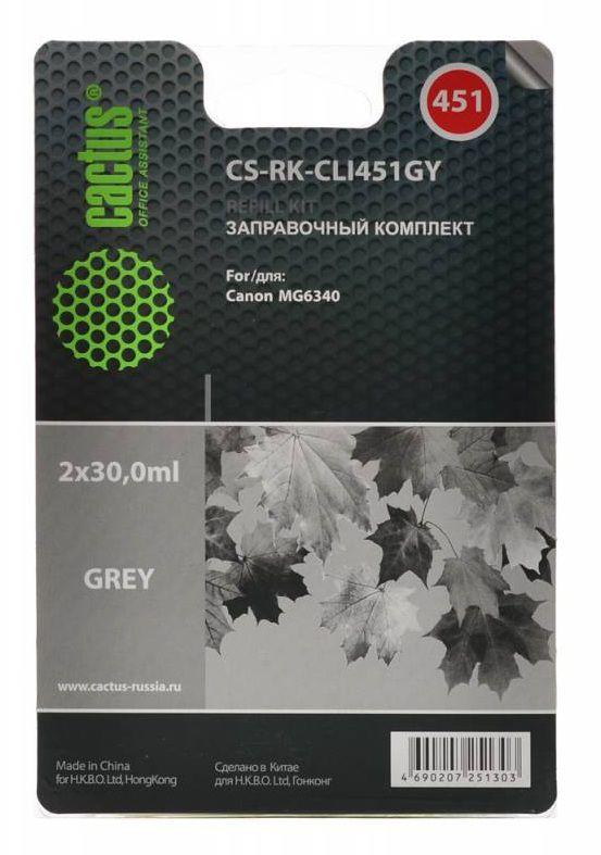 Заправочный комплект CACTUS CS-RK-CLI451GY, для Canon, 30мл, серый