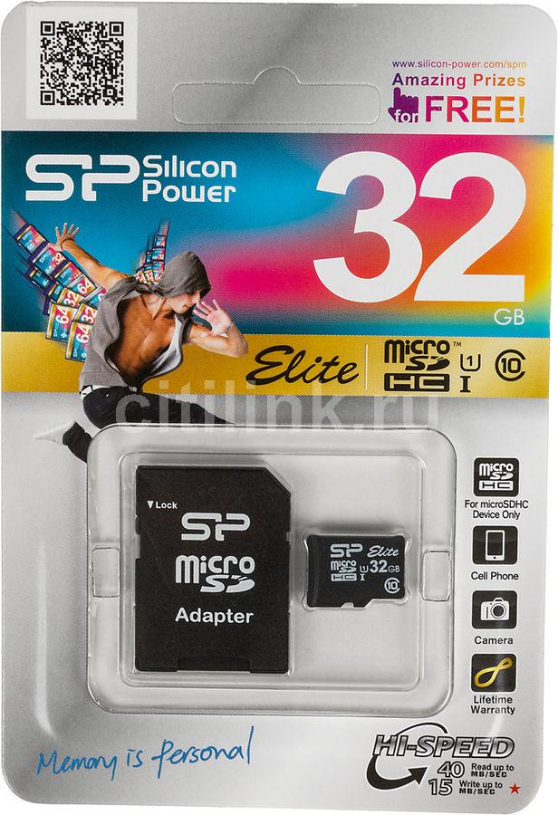 Карта памяти microSDHC UHS-I SILICON POWER 32 ГБ, 40 МБ/с, Class 10, SP032GBSTHBU1V10SP,  1 шт., переходник SD