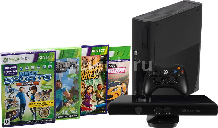 Игровая консоль MICROSOFT Xbox 360 E с 250 ГБ памяти, играми Kinect Sports 2, Kinect Adventures, Forza Horizon, Minecraft,  5DX-00008, черный