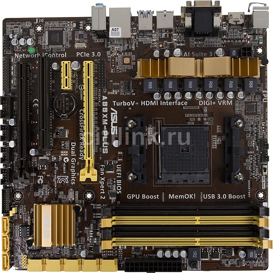 Материнская плата Asus A88XM-PLUS Soc-FM2 AMDA88X DDR3 mATX AC`97 8ch GbLAN SATA3 (отремонтированный)