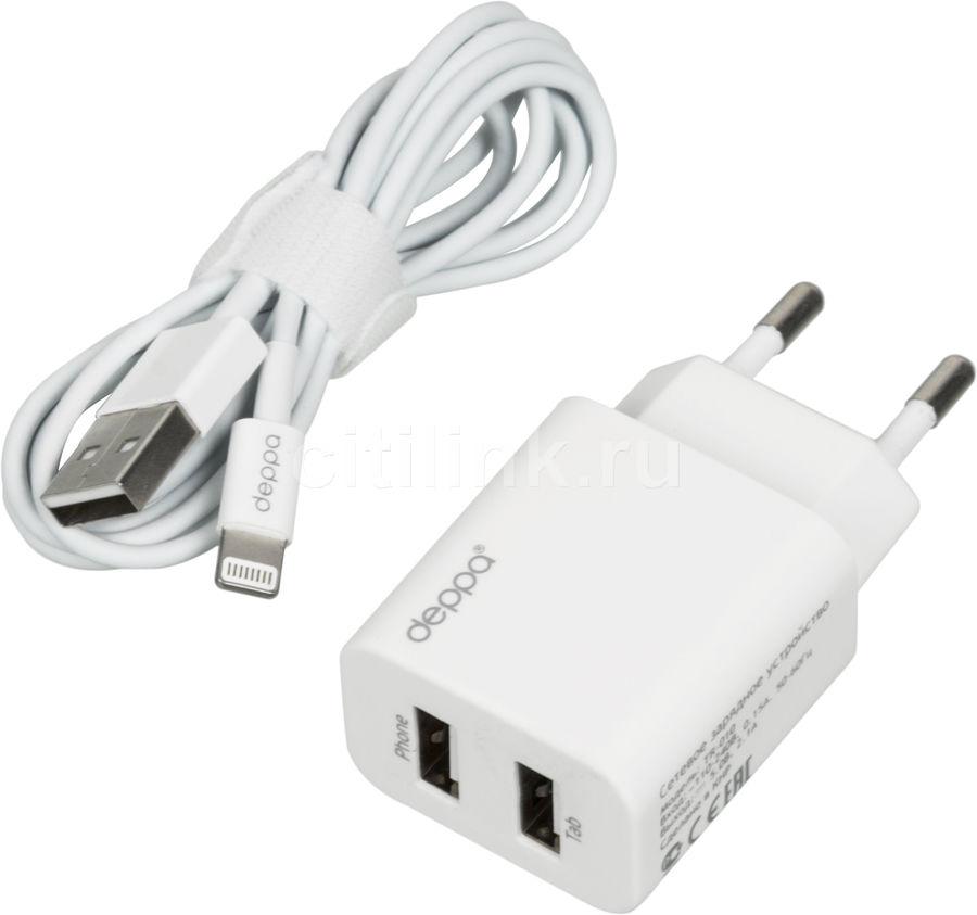 Сетевое зарядное устройство DEPPA 11306,  2xUSB,  8-pin Lightning (Apple),  2.1A,  белый