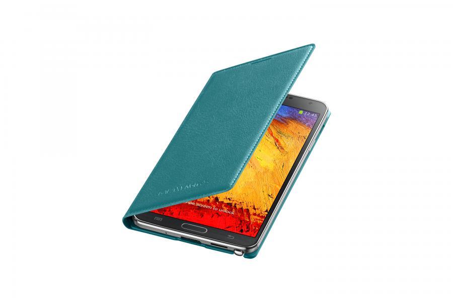 Чехол (флип-кейс) SAMSUNG Flip Wallet (EF-WN900BLEGRU), для Samsung Galaxy Note 3, бирюзовый
