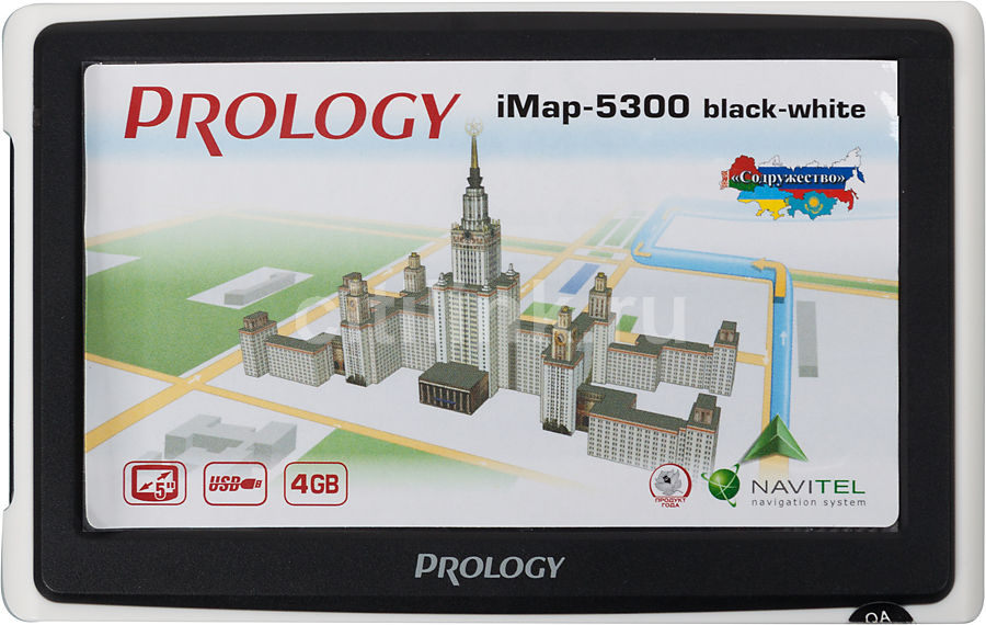 """GPS навигатор PROLOGY iMAP-5300,  4.3"""",  авто, 4Гб, Navitel,  черный"""