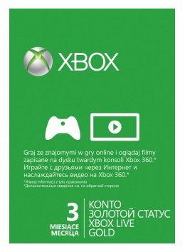Карта подписки MICROSOFT Xbox LIVE Gold 3 мес, для  Xbox [52k-00160]