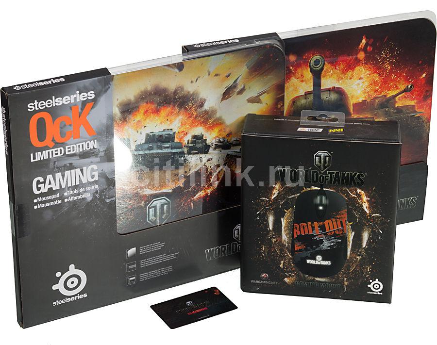 Мышь STEELSERIES World of Tanks Roll Out, игровая, лазерная, проводная, USB, черный и оранжевый