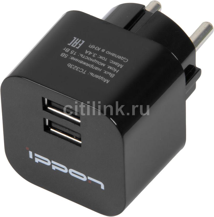 Сетевое зарядное устройство IPPON TC323B,  2xUSB,  3.4A,  черный