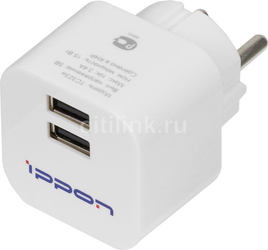 Сетевое зарядное устройство IPPON TC323w,  2xUSB,  3.4A,  белый