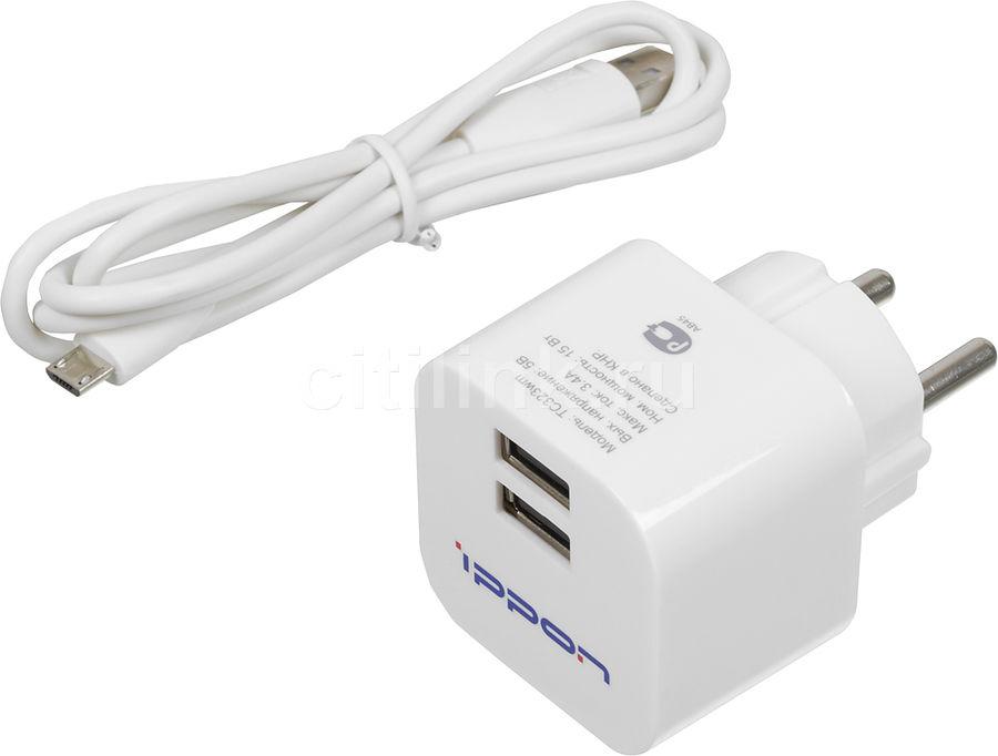 Сетевое зарядное устройство IPPON TC323wm,  2xUSB,  3.4A,  белый