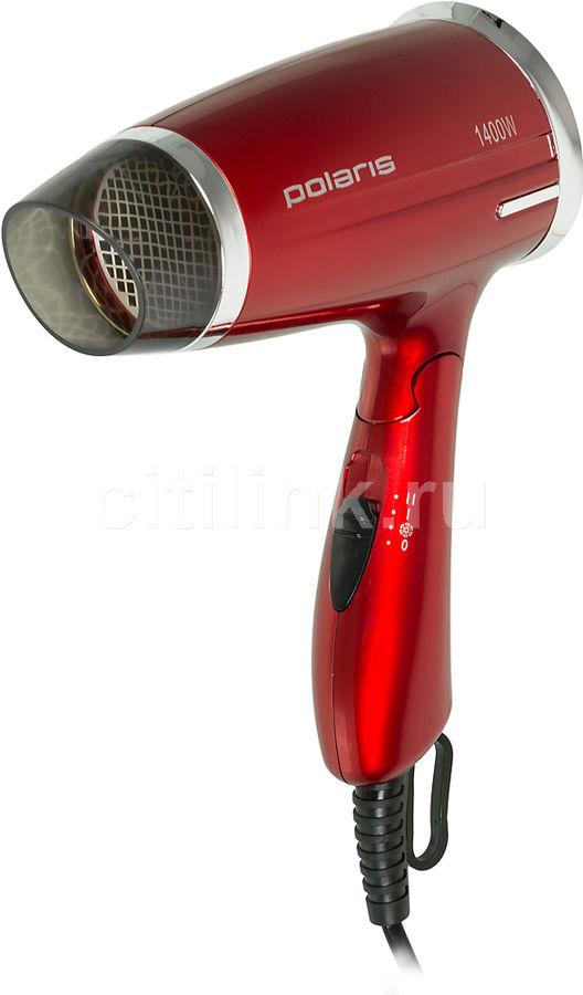 Фен POLARIS PHD 1463T, дорожный, 1400Вт, красный