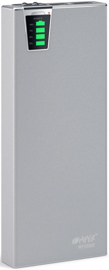 Внешний аккумулятор HIPER MP20000,  20000мAч,  серебристый [mp20000 silver]