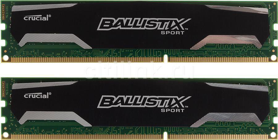 Модуль памяти CRUCIAL Ballistix Sport BLS2CP8G3D1609DS1S00CEU DDR3 -  2x 8Гб 1600, DIMM,  Ret