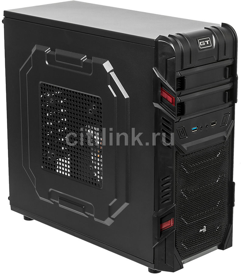Корпус ATX AEROCOOL GT Advance, Midi-Tower, без БП,  черный