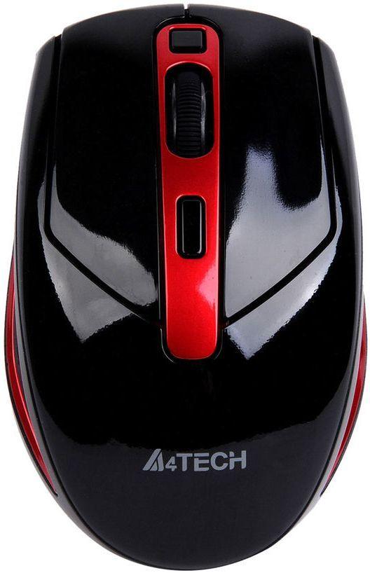 Мышь A4 G11-590FX-2, оптическая, беспроводная, USB, черный и красный