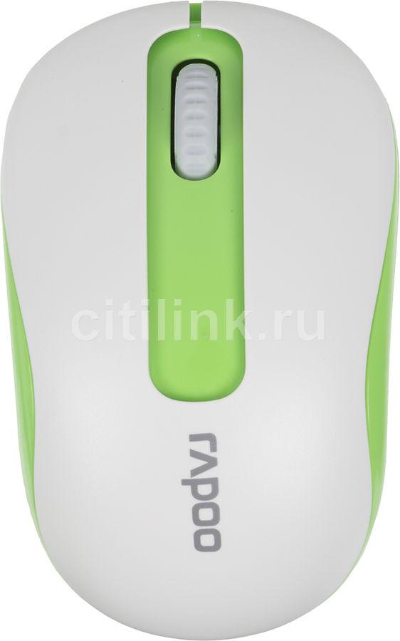 Мышь RAPOO M10 оптическая беспроводная USB, белый и зеленый [10929]